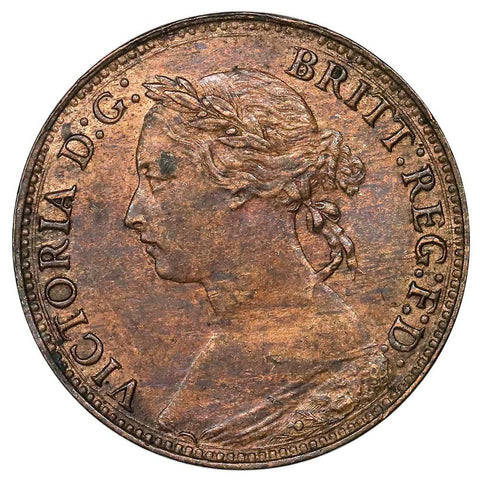 1881 Great Britain Farthing 3 Berrie KM. 753s - About Uncirculated