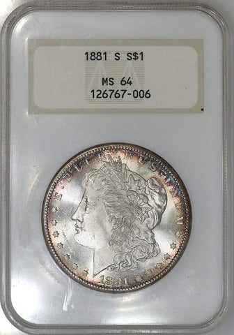 1881-S Morgan Dollar - NGC MS 64 - Old NGC 3 No Line Fatty Holder