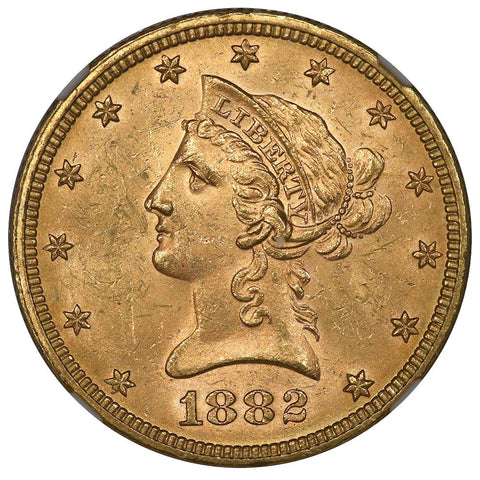 1882 $10 Liberty Gold Eagle - NGC MS 62 - Brilliant Uncirculated