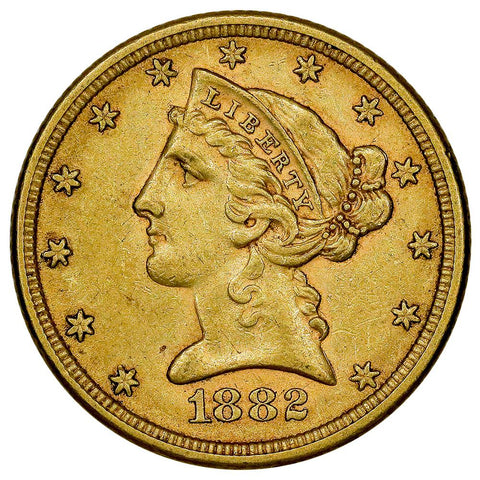 1882 $5 Liberty Head Gold Coin - Choice About Uncirculated