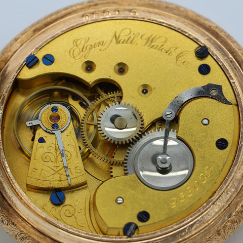 1882 Elgin Gold Filled Pocket Watch - 11J, Grade 93, Model 1, Size 16s - Gorgeous Case