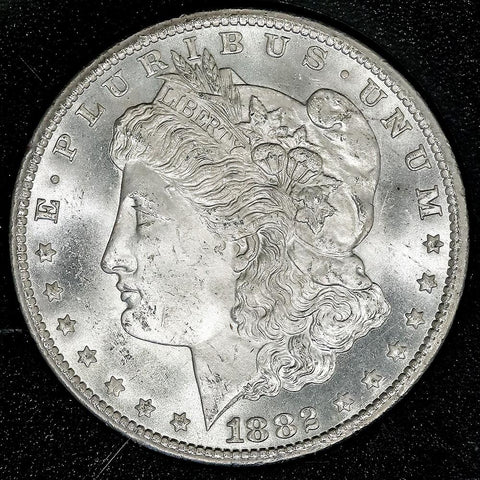 1882-CC Morgan Dollar VAM-2B1 in GSA, Choice Brilliant Uncirculated, Includes Box/Cert