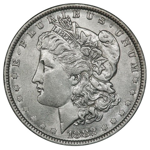 1882-O/S Top-100 VAM-4 LDS Recessed O/S Morgan Dollar - About Uncirculated