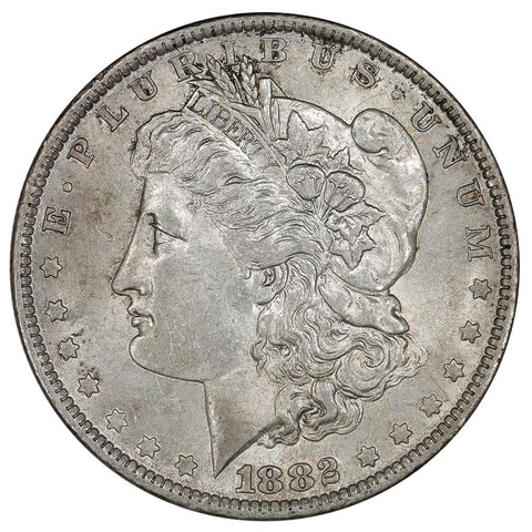 1882-O/S Top-100 VAM-5 Broken O/S Morgan Dollar - About Uncirculated
