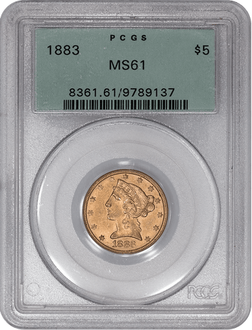 1883 $5 Liberty Gold Coin - PCGS MS 61 OGH - Tougher Date
