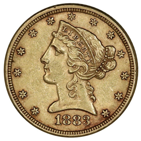 1883 $5 Liberty Gold Coin - About Uncirculated