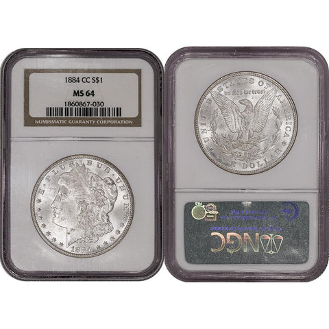 1884-CC Morgan Dollar - NGC MS 64 - Choice Brilliant Uncirculated