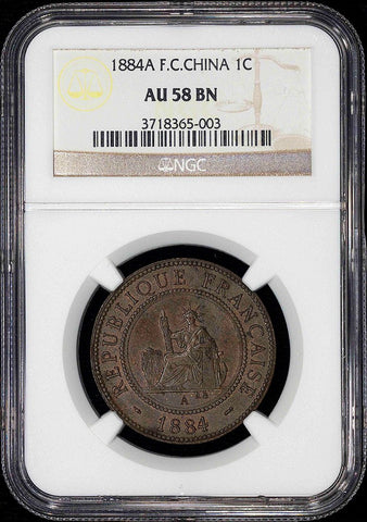 1884-A French Cochin China Cent KM. 3 - NGC AU 58 BN - Trace Red