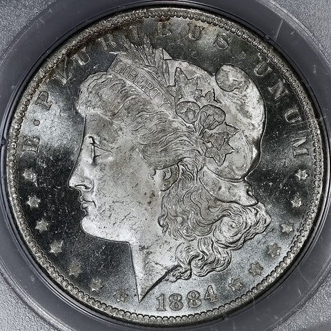 1884-O Morgan Dollar - PCGS MS 63 DMPL Rattler Holder