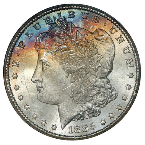 Pretty 1885-CC Morgan Dollar VAM-3 in GSA, Choice Toned Uncirculated