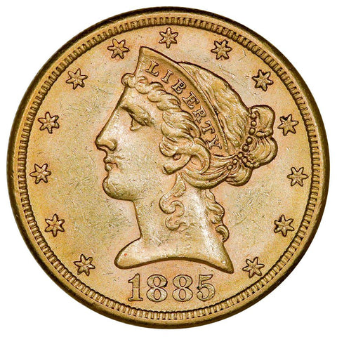 1885-S $5 Liberty Head Gold Coin - About Uncirculated