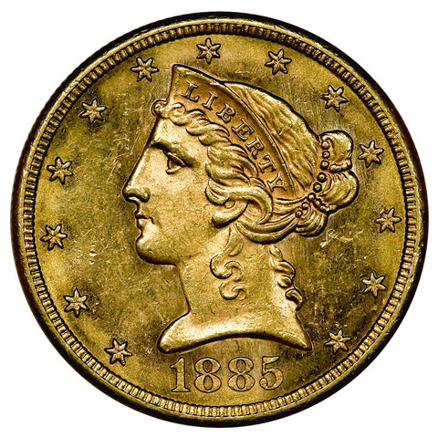 1885-S $5 Liberty Head Gold Coin - PQ Brilliant Uncirculated