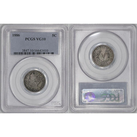 1886 Liberty Head V Nickel - PCGS VG 10 - Very Good+