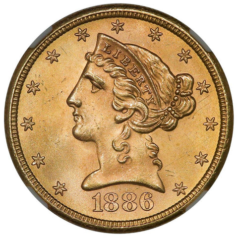 1886-S $5 Liberty Head Gold Coin - NGC MS 65+ - Superior Gem