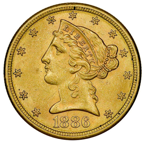1886-S $5 Liberty Head Gold Coin - PQ Brilliant Uncirculated