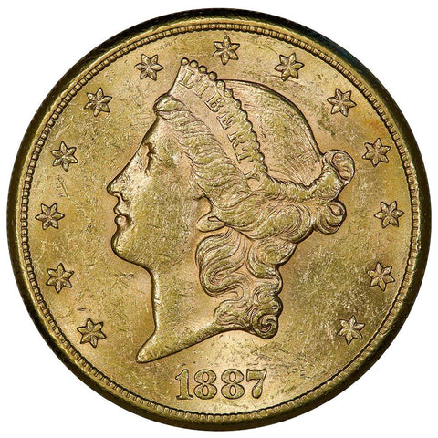1887-S $20 Liberty Double Eagle Gold Coin - Choice About Uncirculated