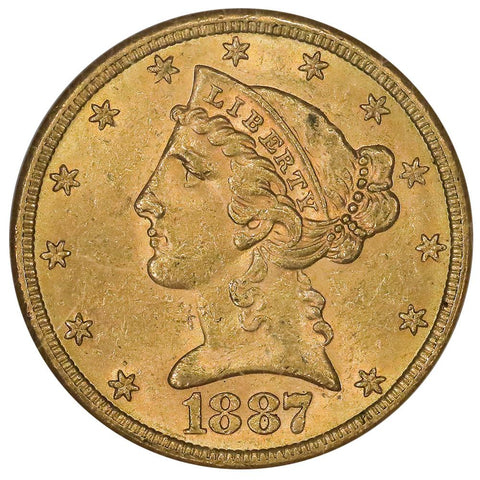 1887-S $5 Liberty Head Gold Coin - NGC MS 61 - Brilliant Uncirculated