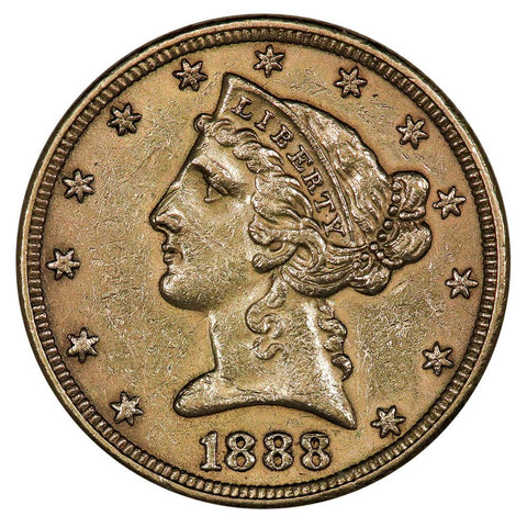 1888 $5 Liberty Head Gold Coin - About Uncirculated