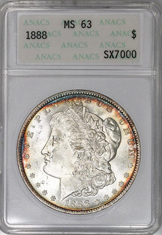 1888 Morgan Dollar - ANACS MS 63 - Choice Brilliant Uncirculated