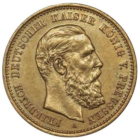 1888-A Friedrich German States \ Prussia Gold 10 Mark KM.514 - About Uncirculated+
