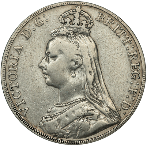 1889 Great Britain Silver Crown KM.765 - Very Fine Details (cleaned)