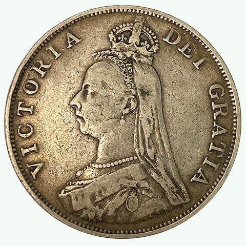 1889 Queen Victoria British Silver Double Florin KM. 763 - Very Fine