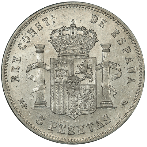 1890 (90) MP-M Spain Silver 5 Pesatas KM.689 - Extremely Fine+