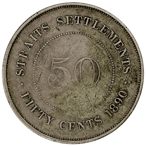 1890-H Straits Settlement Silver 50 Cents KM.13 - Fine/Very Fine