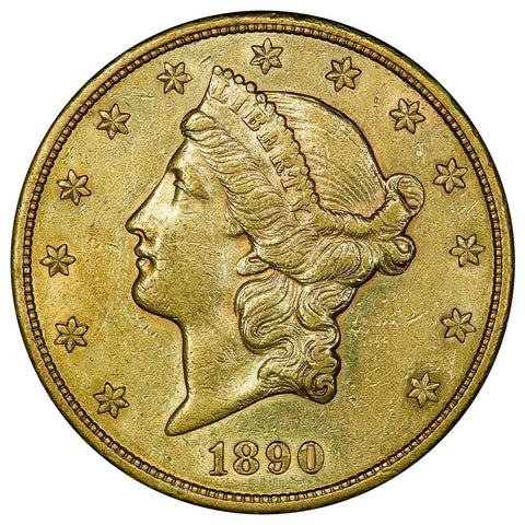 1890-S $20 Liberty Double Eagle Gold Coin - Choice About Uncirculated