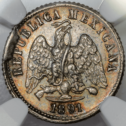 1891-GaS Mexico Silver 5 Centavos KM.389.4 - NGC MS 62 (Pretty!)