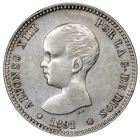 1891 PG-M Spain Silver Pesata KM.691 - XF/AU Details (cleaned)