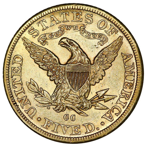 1891-CC $5 Liberty Head Gold - Choice About Uncirculated - Carson City Gold