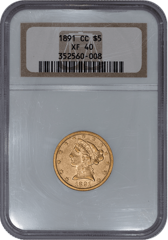 "1891-CC $5 Liberty ""Carson City"" Gold - NGC XF 40 - Extremely Fine"