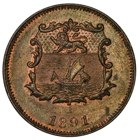 Scarce 1891-H British North Borneo Half Cent KM.1 - Uncirculated