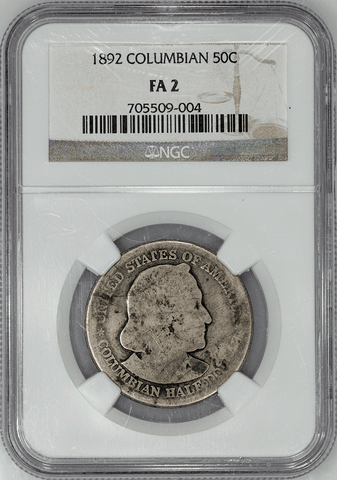 1892 Columbian Silver Commemorative Half Dollar - NGC FA 2 - Low Ball