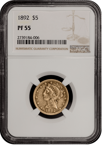 Rare 1892 Proof $5 Liberty Gold Coin - NGC PF 55