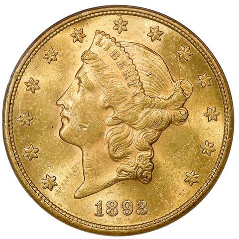 1893-S $20 Liberty Double Eagle Gold Coin - PCGS MS 61 - Brilliant Uncirculated