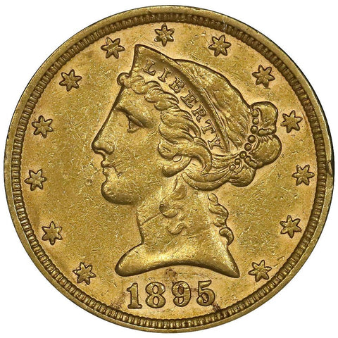 1895 $5 Liberty Head Gold - About Uncirculated