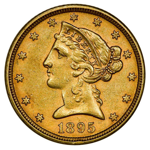 1895 $5 Liberty Head Gold Coin - About Uncirculated