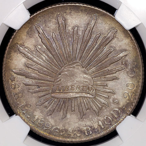 1896-MoAB Mexico City Mint Cap & Rays 8 Reales KM.377.10 - NGC AU 58