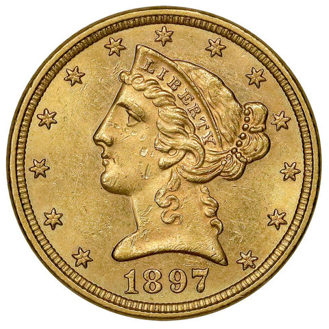 1897 $5 Liberty Head Gold - Uncirculated Details (Obv. Damage)