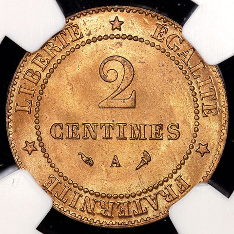 France - 1897-A 2 Centimes - KM.827.1 - NGC MS 64 RD