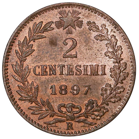 1897-R Italy 2 Centesimi KM.30 - Red & Brown Uncirculated
