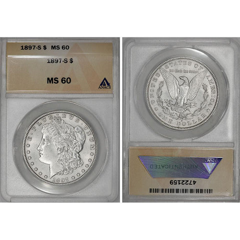 1897-S Morgan Dollar - ANACS MS 60 - Brilliant Uncirculated