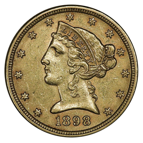 1898 $5 Liberty Head Gold - About Uncirculated