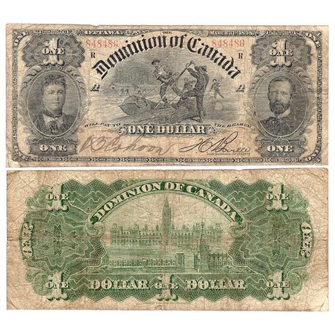 "1898 Dominion of Canada ""Log Drive"" $1 DC13c - Very Good"