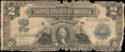 "1899 $2 ""Mini Porthole"" Silver Certificate Fr. 256 - About Good"