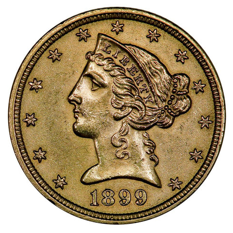 1899 $5 Liberty Head Gold - Choice About Uncirculated