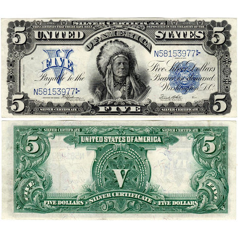 1899 $5 Oncpapa Indian Chief Silver Certificate Fr. 281 - Extremely Fine