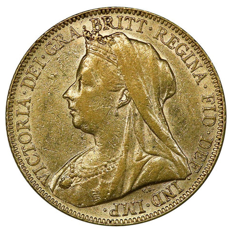 "1899 Great Britain ""Old Queen Victoria"" Gold Sovereign - About Uncirculated"